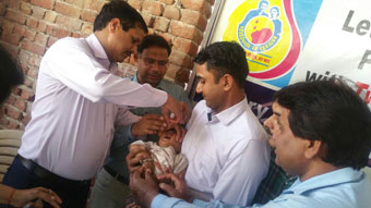 Pulse polio vaccination program organized by Rotary club of Rewari Main