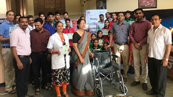 Wheel Chair donated to management of Centre School, Rewari in their medical department