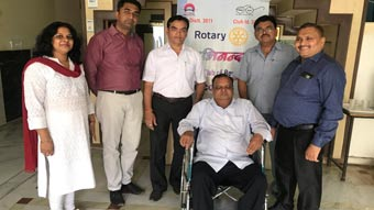 Rotary Club of Rewari Main donated a wheel chair to Mr. Keshav Kumar resident of Qutubpur Rewari